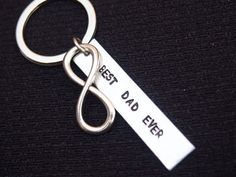 infinity best DAD ever Custom Keychain, charm Personalized keychain,Hand Stamped gifts,best friend gifts,Geek key chain