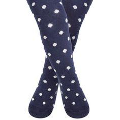Girls Navy Polka Dot Cotton Tights, Baby Socks and Tights, Baby Clothes