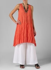 Linen Sleeveless Crumple Effect Long Blouse Orange