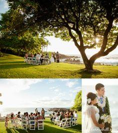 gorgeous sunset wedding at Kukahiko Estate, wedding created by Simple Maui Wedding