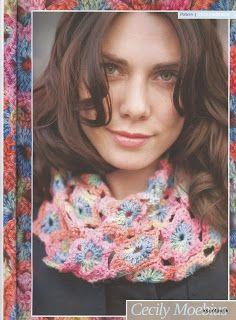 Cachecol de flores em crochet