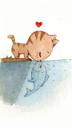 art, background, cat, cute, draw, fantasy, fish, happy,