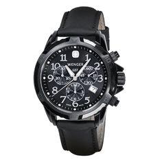 wenger GST Chrono Black PVD Black Leather
