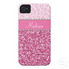 Pink Glitter Rhinestone Leopard BLING Case iPhone 4 Case-Mate Cases