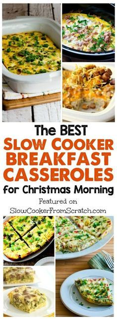 The BEST Slow Cooker Breakfast Casseroles for Christmas Morning; these can cook while you open the gifts! Or make one of these delicious slow cooker breakfast casseroles any time you have overnight guests. [featured on SlowCookerFromScratch.com]