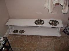Shelf repurpose to dog feeding station Perfect for Dakota AND Khloe :)