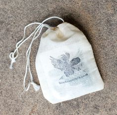Cotton Muslin Drawstring Bags  A stamp (I designed a custom stamp on RubberStamps.net) & ink pad