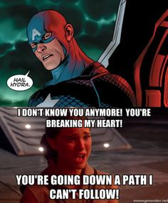 Say no to Hydra Cap... I wonder if Thor is okay with this meme? Lol