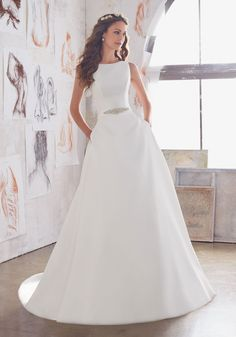View Dress - Mori Lee Blue SPRING 2017 Collection: 5516 - Maxine - Larissa Satin with Jewel Beaded Belt and Straps   MoriLee Bridal