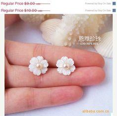 Flower Pearl Earrings  Cute  34mm Pink Pearl and by EnyaPearls, $8.10