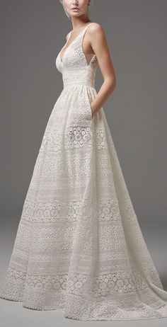 Vintage Wedding Dresses Sottero and Midgley - EVAN, This chic boho wedding dress features sheer pockets and patterns of eyelet lace, floral motifs, and scalloping in an A-line silhouette. Sheer lace straps complete the V-neckline and sexy square back. Boho Chic Wedding Dress, Top Wedding Dresses, Wedding Dress Trends, Boho Dress, Wedding Gowns, Chic Dress, Fall Wedding, Wedding Dress Patterns, Crochet Wedding Dress Pattern