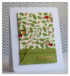 Sylvia Blum: {Sylvias Stamping Place} – Season's Greetings - 12/10/13.  (Echo Park stamp: Season's Greetings.  Papers - Echo Park This&That Christmas.  Fiskars bracket border punch.