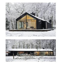 Veel glas. Mooi in combinatie met omgeving. #combinatie #glas #met #Mooi #omgeving #veel Architecture Details, Interior Architecture, Modern Barn House, Weekend House, Cabin Homes, Exterior Design, House Plans, New Homes, House Styles