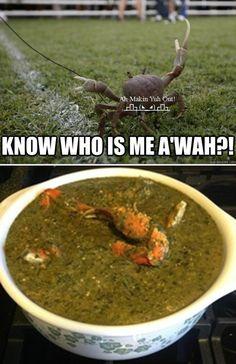 Best Food Ever #crab #food, #trinidad #funny