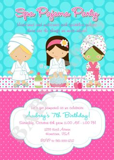Spa Party Invitation - DIY Print Your Own  - Choose Your Girls - Matching party printables available. $12.00, via Etsy.
