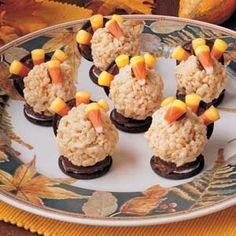 Gobbler Goodies... Rice Krispie Treats, Oreos, and candy corn make an adorable thanksgiving turkey. I make these every year.  Half of a packaged rice krispie bar seems to be the right size and easy to work with!  Be sure to stock up on candy corn now!
