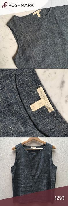 Eileen Fisher Chambray Top Eileen Fisher, M, Chambray/linen, sleeveless top, never been worn, perfect condition Eileen Fisher Tops Blouses