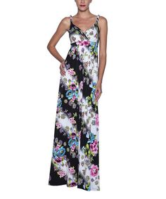 Another great find on #zulily! Black & Blue Floral Drape Empire-Waist Maxi Dress - Women by Elfe #zulilyfinds