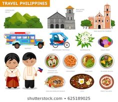 Travel to Philippines. Set of traditional cultural symbols, cuisine, architecture. A collection of colorful illustrations for the guidebook. Filipinos in national dress. Philippines Tourism, Les Philippines, Philippines Culture, Filipino Art, Filipino Culture, Filipino Dishes, Cultura Filipina, Jeepney, Cute Cartoon Characters