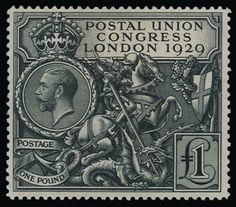 KGV Postal Union Congress 1929 1 Pound Postage Stamp Poster by Hakon Soreide. All posters are professionally printed, packaged, and shipped within 3 - 4 business days. Choose from multiple sizes and hundreds of frame and mat options. Uk Stamps, Rare Stamps, Postage Stamps Uk, Stamp Auctions, Here Be Dragons, One Pound, Thing 1, Stamp Collecting, British Isles