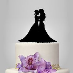 Lesbian wedding cake topper same sex cake topper by walldecal76