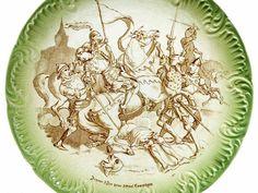 6 assiettes faïence Sarreguemines françaises illustrées 19 ème