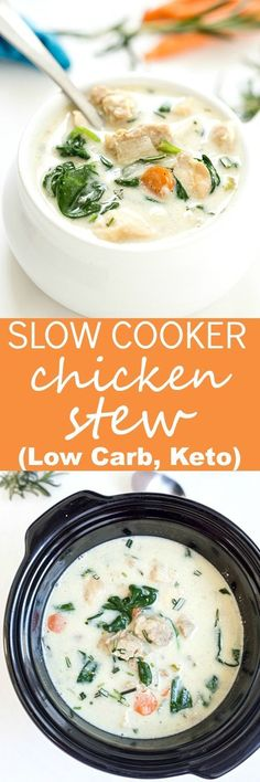Easy Crockpot Chicken Stew Recipe (Low Carb, Keto) - Thick and creamy low carb, keto chicken stew made right in the crockpot! This is truly a dump and allow your crockpot to all of the work for you recipe! The perfect healthy comfort food packed with flavor.