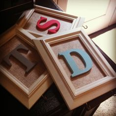 Picture frames with initials, burlap, and hooks to hang keys from! Decorating Ideas, Decor Ideas, Gift Ideas, Framed Burlap, Xmas Stockings, Craft Corner, Dorm Room, Hooks, Picture Frames