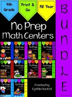 NO PREP Math Centers for the year are ten monthly units full of hands-on, engaging, fun math activities that are ready to PRINT & GO for every month…