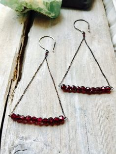 Garnet & Sterling Silver Earrings Garnet Earrings Aquila