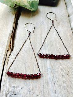 Garnet & Sterling Silver Earrings Garnet Earrings Aquila