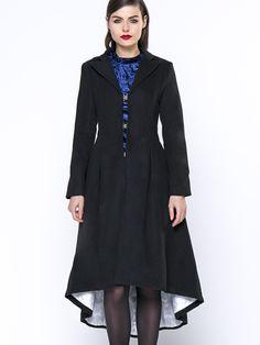 Lapel  Zips High-Low Plain Duster Swing Coats