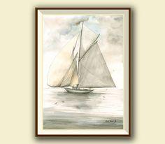 PRINT-Classic 15 metter Class yacht - sailing ship art - sailing art wall - Regatta yacht sail ship Saint Tropez - Art Print by Juan Bosco by SanMartinArtsCrafts on Etsy