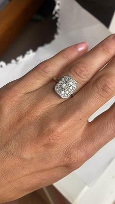 Platinum Emerald Cut Diamond Ring Emerald Cut Diamonds, Princess Cut Diamonds, Black Diamond, Diamond Rings, Diamond Cuts, Vintage Inspired Engagement Rings, Halo Engagement Rings, Engagement Jewelry, Jewellery Designs
