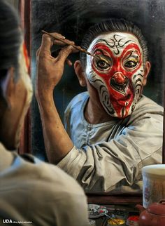 I bring this work named Da Nao Tian Gong,it shows a normal performing artist of Beijing opera who is painting face before his performance in the backstage.The last step is tracing over the golden eyes. Chinese Opera Mask, Zbrush Character, Journey To The West, Night Circus, Monkey King, Maquillage Halloween, Cg Art, Art 3d, Tattoo Ideas