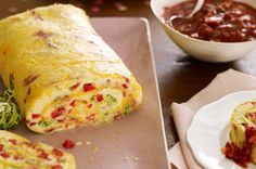 Bacon Omelet Roll with Salsa recipe - Serve omelets to hungry brunch-seekers without flipping (out) over a hot stove. The oven does the work while bacon, cheese and tomato salsa add the flavor.  #MothersDay