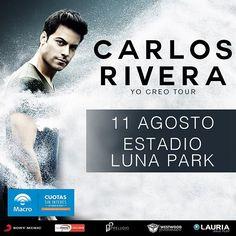 🎉¡@_CarlosRivera vuelve a la Argentina con un show el 11 de agosto en el Estadio Luna Park!🎉
