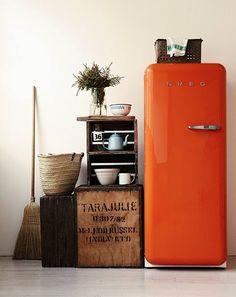 orange smeg with rustic kitchen decor / sfgirlbybay Deco Orange, Home Interior Design, Interior Decorating, Design Interiors, Interior Stylist, Kitchen Interior, Modern Interior, Smeg Fridge, Smeg Kitchen
