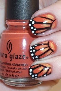 "Nail Polish Art Addiction: Monarch Butterfly Wings - China Glaze ""Life Preserver"" as the base coat Get Nails, Fancy Nails, Love Nails, How To Do Nails, Pretty Nails, Hair And Nails, Style Nails, Butterfly Nail, Butterfly Wings"