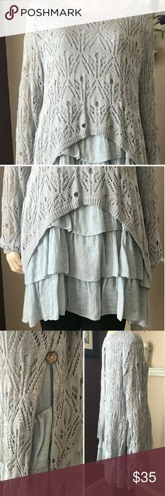 Selfie Couture by Trendology Tunic Gorgeous Gray Tiered Ruffled Tunic Worn Once~Washed Once~Like New! Shorter outer layer is a crocheted sweater with back and side buttons Cotton~Gauze blend Selfie Couture by Trendology Tops Tunics