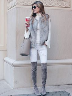 Winter White Outfits: Styling Neutrals all Year Long - Winter Boots - Ideas of Winter Boots - winter outfit: fur vest and taupe suede over the knee boots Winter Fashion Boots, Cozy Fashion, Fall Fashion Outfits, Fall Winter Outfits, Autumn Winter Fashion, Winter Boots, Casual Winter, Fur Fashion, White Fashion