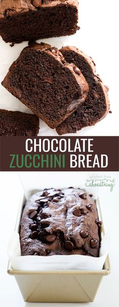 This moist and fudgy double chocolate gluten free zucchini bread will have you wondering how it's possible that there are 2 cups of grated vegetables hidden inside! Gluten Free Deserts, Gluten Free Sweets, Gluten Free Chocolate, Foods With Gluten, Gluten Free Cooking, Dairy Free Recipes, Chocolate Recipes, Gluten Free Pastry, Gluten Free Recipes For Breakfast