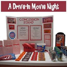 movie night partyHow great would this be to use in a classroom. The children would have to use their money skills to buy from the concession stand…the movie could be from a book or story read in class…the car could be made as an art project….afterwards, a paper could be written on their experience. AWESOME!