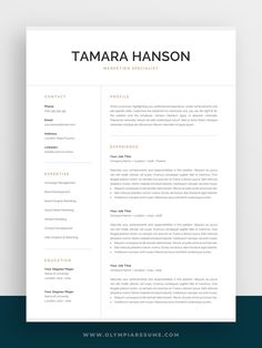 Professional Resume Template for Word & Pages Template Cv, One Page Resume Template, Modern Resume Template, Creative Resume Templates, Resume Ideas, Resume Examples, Resume Design, Cv Design, Resume Cv