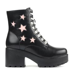 bf3591cf4d4a These chunky platform biker boots feature some pink star detailing along  the sides with matching pink laces which contrast strikingly against the  all black ...