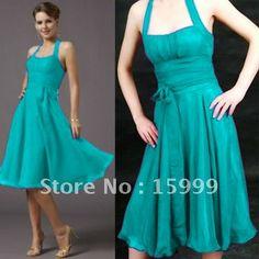 Free Shipping Beautiful New Halter Teal Bridesmaid Dresses JH911