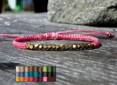 Items similar to waxed cord bracelet faceted brass beads / friendship bracelet / woven bracelet / adjustable bracelet / macrame bracelet / braided bracelet on Etsy Friendship Bracelets With Beads, Cord Bracelets, Bangles, Wax, Brass, Trending Outfits, Unique Jewelry, Handmade Gifts, Etsy