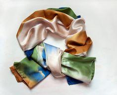 E A R T H  Hand Dyed Silk Scarf Paint Stroke by GiftShopBrooklyn, $80.00