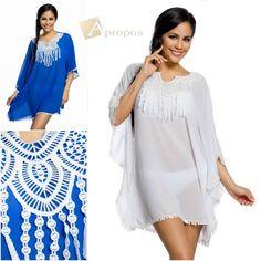 Tunika Bluse Top T- Shirt Hüftlang Weiß Blau Boho One Size XS- L Apropos