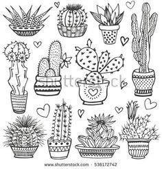 Cactus doodle set. Hand drawn vector illustration, sketch collection of house plants. Natural design elements.